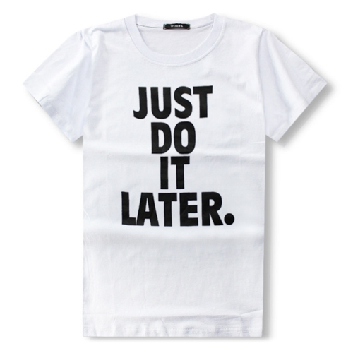 Buy 0% OFF Men Short Sleeve JUST DO IT LATER Printed Round Neck Summer Basic T-shirt, Size: M for $5.18 in SUNSKY store