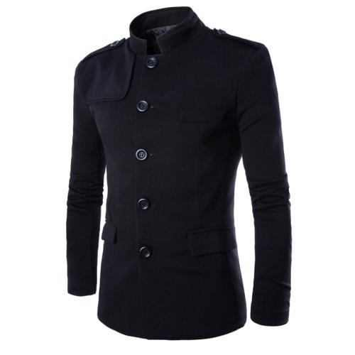 Men Leisure Stand Collar Suit Tunic Elegant Zhongshan Coat, Size: M(Black)