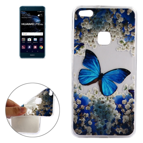 Buy Huawei P10 Lite Blue Butterfly Pattern Soft TPU Protective Case for $1.40 in SUNSKY store