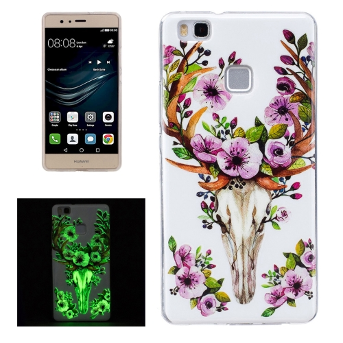 Buy For Huawei P9 Lite Noctilucent Sika Deer Pattern IMD Workmanship Soft TPU Back Cover Case for $1.31 in SUNSKY store