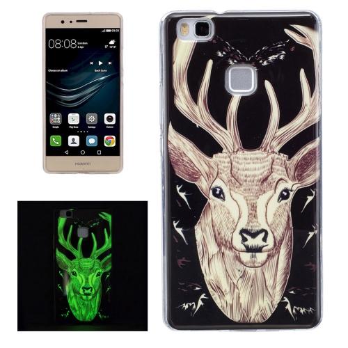 Buy For Huawei P9 Lite Noctilucent Deer Pattern IMD Workmanship Soft TPU Back Cover Case for $1.35 in SUNSKY store