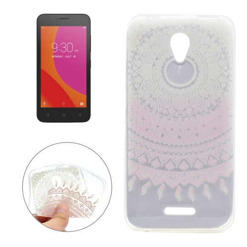 For Lenovo Vibe B Pink Flower Texture Pattern Transparent Soft TPU Protective Back Cover Case