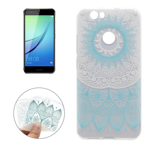 Buy For Huawei nova Blue Flower Pattern Transparent Soft TPU Protective Back Cover Case for $1.16 in SUNSKY store