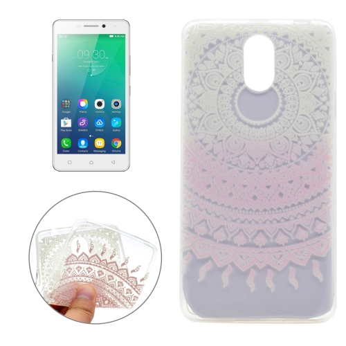 Buy For Lenovo VIBE P1m Pink Flower Pattern Transparent Soft TPU Protective Back Cover Case for $1.16 in SUNSKY store