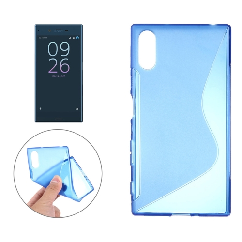 For Sony Xperia XZ S-Shaped Soft TPU Protective Cover Case, Blue