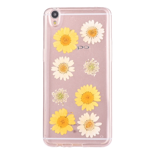 Buy OPPO R9 Genuine White Daisy & Yellow Daisy & White Baby Breath Dried Flower Soft TPU Transparent Protective Back Cover Case for $2.96 in SUNSKY store
