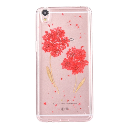 Buy OPPO R9 Genuine Red Baby Breath Dried Flower Soft TPU Transparent Protective Back Cover Case for $2.96 in SUNSKY store