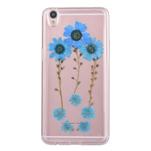 Buy OPPO R9 Plus Genuine Blue Daisy Dried Flower Dried Flower Soft TPU Transparent Protective Back Cover Case for $2.96 in SUNSKY store