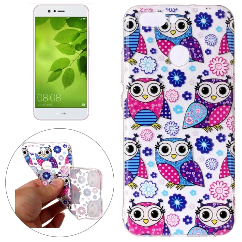 Huawei nova 2 Flower Owls Pattern Embossment TPU Protective Back Cover Case