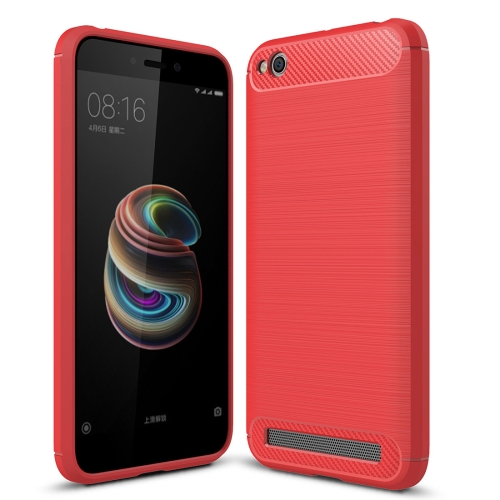 Buy Xiaomi Redmi 5A Brushed Texture Carbon Fiber Shockproof TPU Rugged Armor Protective Case, Red for $2.02 in SUNSKY store