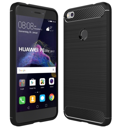 For Huawei P8 Lite (2017) Brushed Carbon Fiber Texture Shockproof TPU Protective Case(Black)