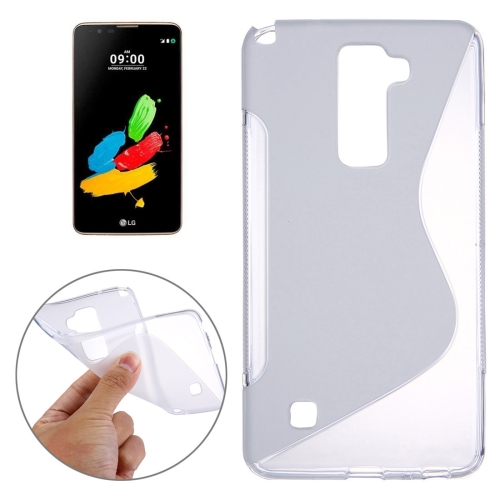 For LG Stylus 2 S-Shaped Soft TPU Protective Cover Case, Transparent