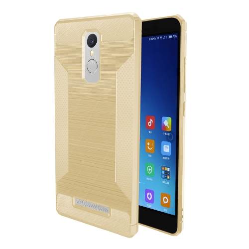 Buy Xiaomi Redmi Note 3 Brushed Texture Carbon Fiber Anti-slip TPU Protective Cover Case, Gold for $1.88 in SUNSKY store
