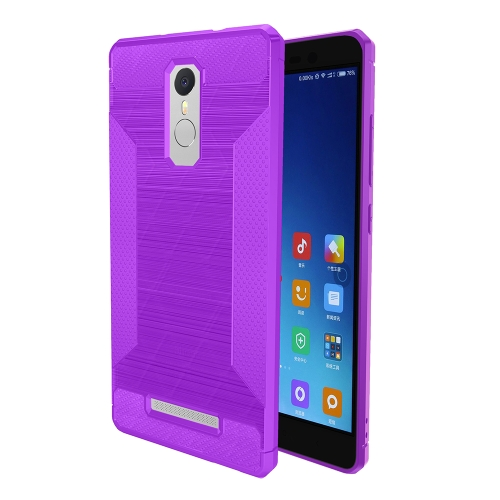 Buy Xiaomi Redmi Note 3 Brushed Texture Carbon Fiber Anti-slip TPU Protective Cover Case, Purple for $1.88 in SUNSKY store