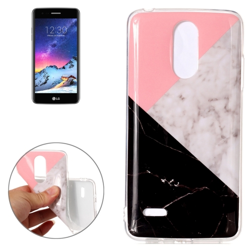 Buy For LG K8, 2017 (EU Version) Pink Black Color Matching Marble Pattern TPU Shockproof Protective Back Cover Case for $1.23 in SUNSKY store