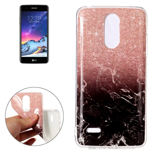 Buy For LG K8, 2017 (EU Version) Black Gold Marble Pattern TPU Shockproof Protective Back Cover Case for $1.20 in SUNSKY store
