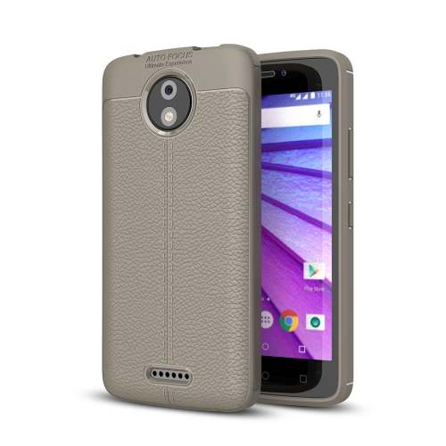 Buy For Motorola Moto C Plus Litchi Texture Design Soft TPU Anti-skip Protective Cover Back Case, Grey for $2.28 in SUNSKY store