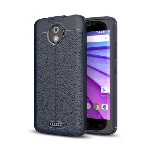 Buy For Motorola Moto C Plus Litchi Texture Design Soft TPU Anti-skip Protective Cover Back Case, navy for $2.28 in SUNSKY store