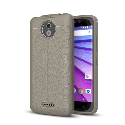 Buy For Motorola Moto C Plus Litchi Texture Design Soft TPU Anti-skip Protective Cover Back Case, Grey for $2.23 in SUNSKY store