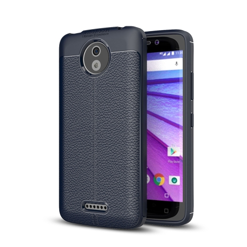 Buy For Motorola Moto C Plus Litchi Texture Design Soft TPU Anti-skip Protective Cover Back Case, navy for $2.23 in SUNSKY store