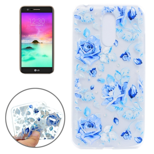 Buy For LG K10, 2017 Colorful Blue Flower Pattern Transparent TPU Protective Case for $1.22 in SUNSKY store