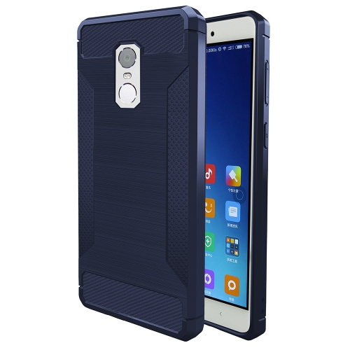 Buy Xiaomi Redmi Note 4 Brushed Texture Carbon Fiber Anti-slip TPU Protective Cover Case, navy for $1.88 in SUNSKY store