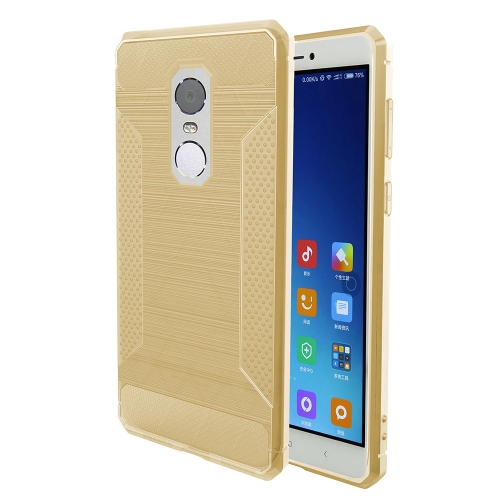 Buy Xiaomi Redmi Note 4X Brushed Texture Carbon Fiber Anti-slip TPU Protective Cover Case, Gold for $1.88 in SUNSKY store