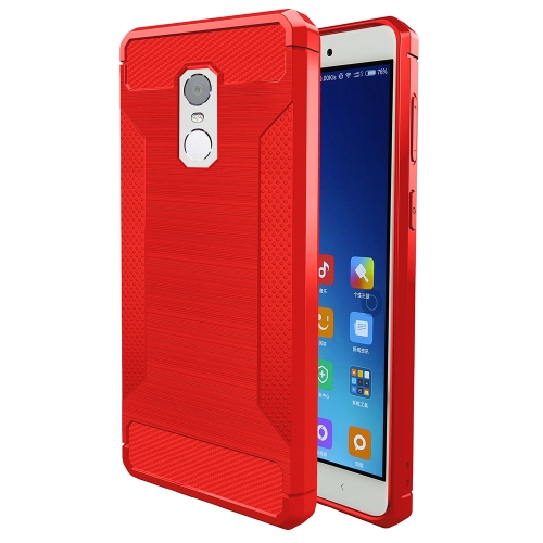 Buy Xiaomi Redmi Note 4X Brushed Texture Carbon Fiber Anti-slip TPU Protective Cover Case, Red for $1.88 in SUNSKY store