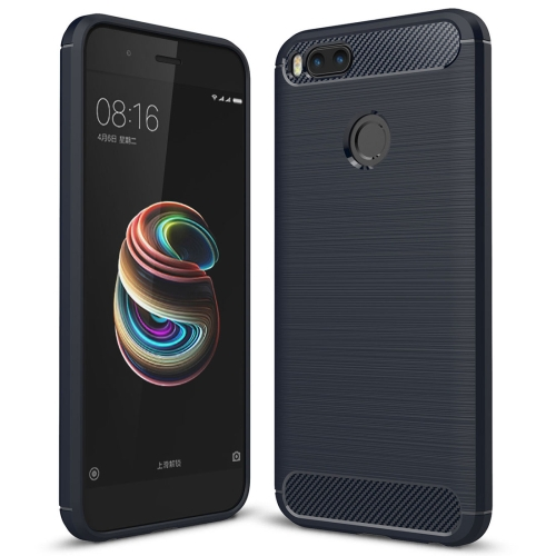 For Xiaomi Mi 5X Carbon Fiber TPU Brushed Texture Shockproof Protective Back Cover Case(navy)
