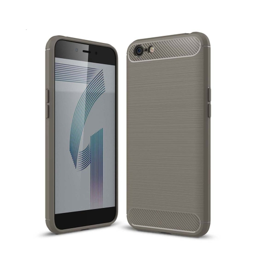 Buy For OPPO A71 Brushed Texture Carbon Fiber Shockproof TPU Rugged Armor Protective Case, Grey for $2.01 in SUNSKY store