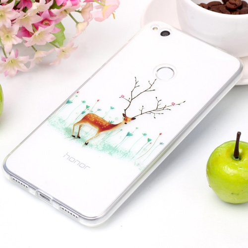 Buy For Huawei P8 Lite, 2017 Tree Branch Elk Pattern High Transparency Soft TPU Protective Case for $1.41 in SUNSKY store