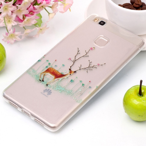 Buy For Huawei P9 Lite Tree Branch Elk Pattern High Transparency Soft TPU Protective Case for $1.41 in SUNSKY store