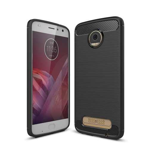 For Motorola Moto Z2 Play Brushed Texture Carbon Fiber Shockproof TPU Rugged Armor Protective Case (Black)