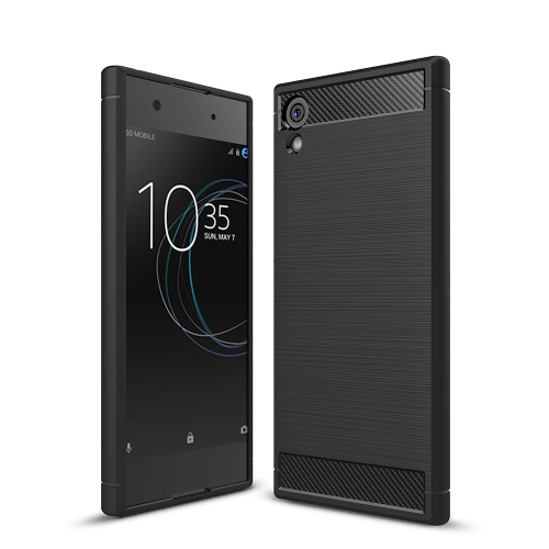For Sony Xperia XA1 Brushed Texture Carbon Fiber Shockproof TPU Rugged Armor Protective Case(Black)