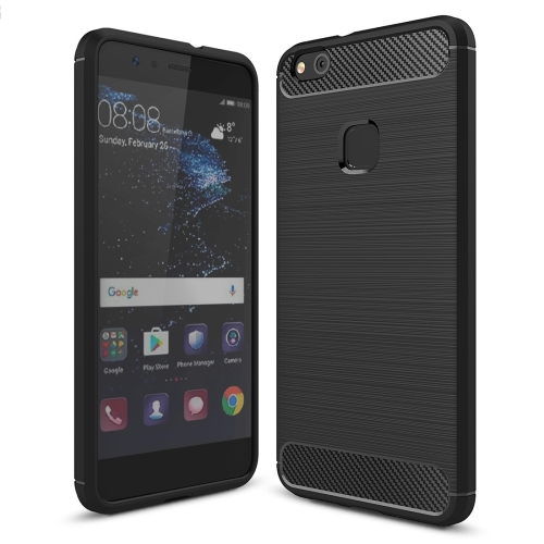 For Huawei P10 Lite Brushed Carbon Fiber Texture Shockproof TPU Protective Cover Case (Black)