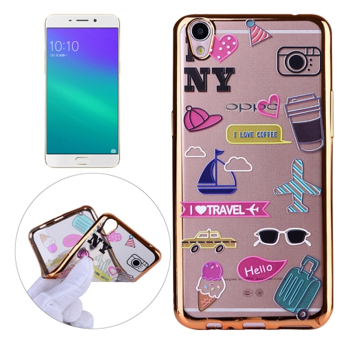 OPPO R9 Plus Living Group Pattern Electroplating Frame Soft TPU Protective Case