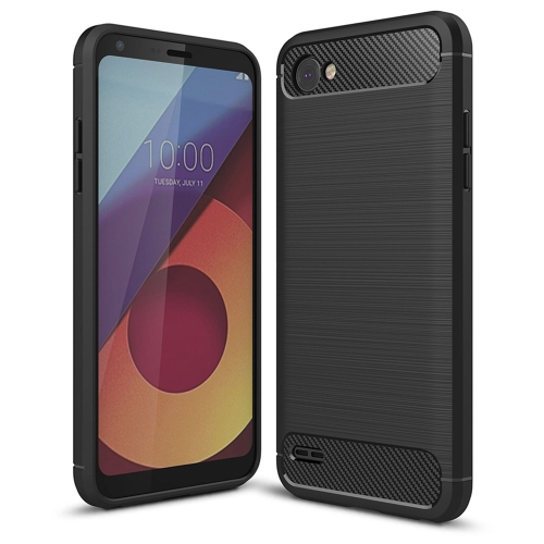For LG Q6 Brushed Texture Carbon Fiber Shockproof TPU Rugged Armor Protective Case (Black)