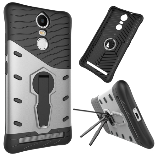 Buy For Lenovo K5 Note Shock-Resistant 360 Degree Spin Tough Armor TPU+PC Combination Case with Holder, Silver for $2.44 in SUNSKY store