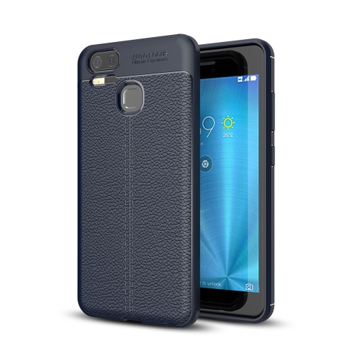 Buy For Asus Zenfone 3 Zoom, ZE553KL Litchi Texture Soft TPU Anti-skip Protective Cover Back Case, navy for $2.23 in SUNSKY store