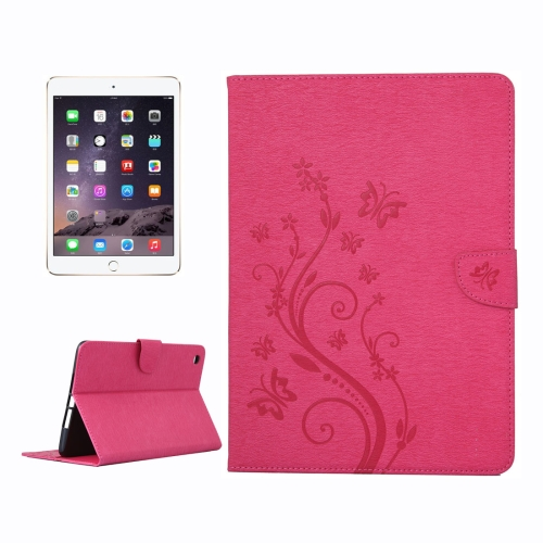 Buy For iPad mini 3 Pressed Flowers Butterfly Pattern Horizontal Flip PU Leather Case with Magnetic Buckle & Holder & Card Slots & Wallet, Magenta for $4.43 in SUNSKY store