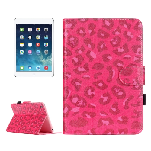 For iPad mini 1 / 2 / 3 Magenta Leopard Pattern Horizontal Flip Leather Case with Holder & Card Slots & Wallet