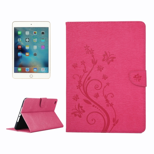 Buy For iPad mini 4 Pressed Flowers Butterfly Pattern Horizontal Flip PU Leather Case with Magnetic Buckle & Holder & Card Slots & Wallet, Magenta for $4.42 in SUNSKY store