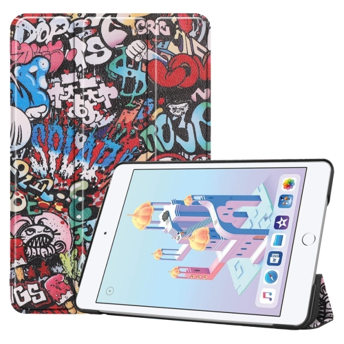 Graffiti Pattern Custer Texture Horizontal Flip PU Leather Case for iPad Mini 2019 / Mini 4 , with Three-folding Holder & Sleep / Wake-up Function