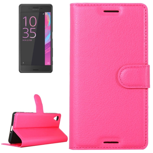 Buy Litchi Texture Horizontal Flip Leather Case with Holder & Card Slots & Wallet for Sony Xperia X, Magenta for $2.31 in SUNSKY store