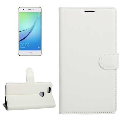 For Huawei nova Litchi Texture Horizontal Flip Leather Case with Holder & Card Slots & Wallet, White