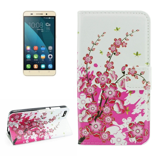 Buy For Huawei Honor 4X Plum Blossom Pattern Horizontal Flip Leather Case with Holder & Card Slots & Wallet for $2.18 in SUNSKY store