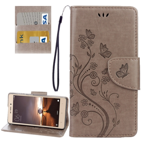 Buy Xiaomi Redmi 3 Pro / 3s Butterflies Love Flowers Embossing Horizontal Flip Leather Case with Holder & Card Slots & Wallet & Lanyard, Grey for $2.19 in SUNSKY store