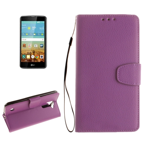 Buy For LG K7 Litchi Texture Horizontal Flip Leather Case with Holder & Card Slots & Wallet & Photo Frame & Lanyard, Purple for $2.42 in SUNSKY store