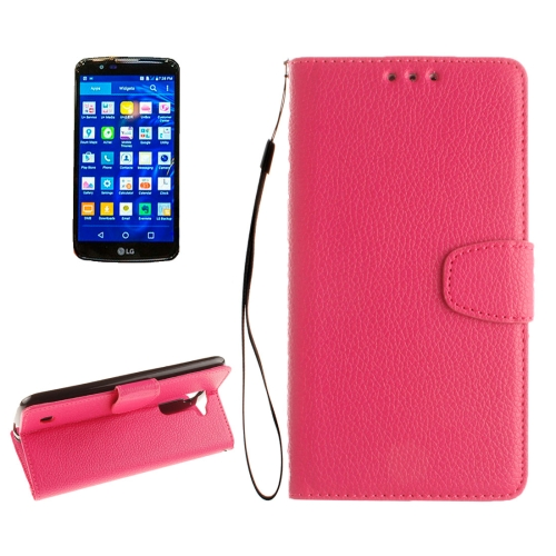 Buy For LG K10 Litchi Texture Horizontal Flip Leather Case with Holder & Card Slots & Wallet & Photo Frame & Lanyard, Magenta for $2.42 in SUNSKY store