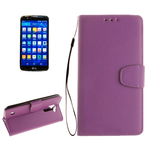 Buy For LG K10 Litchi Texture Horizontal Flip Leather Case with Holder & Card Slots & Wallet & Photo Frame & Lanyard, Purple for $2.42 in SUNSKY store
